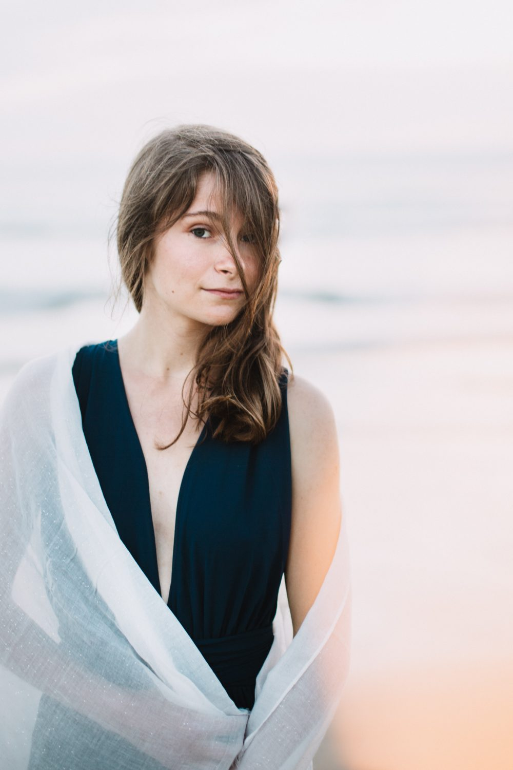 Poetic seaside bridal portrait