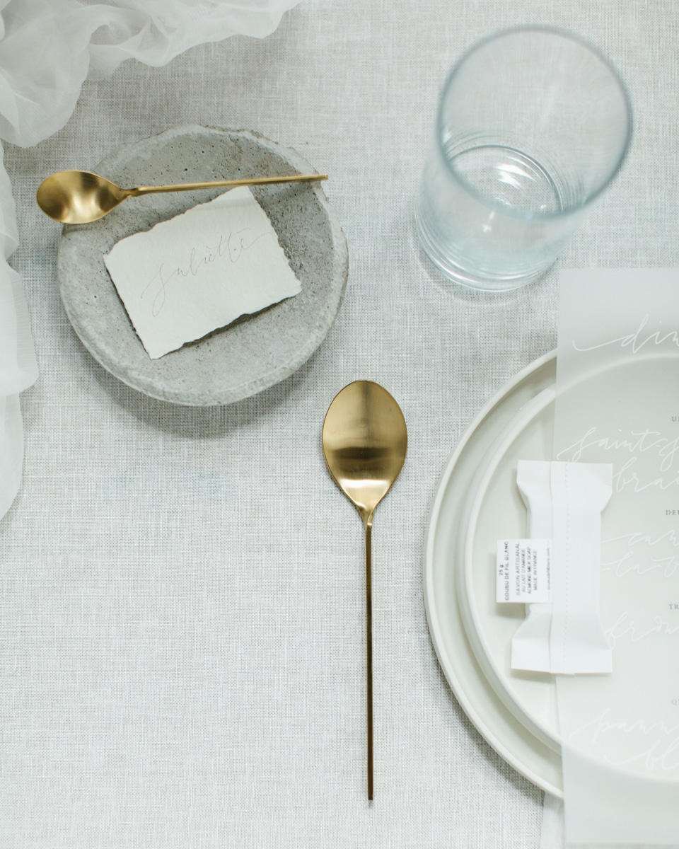 Minimalist wedding inspiration photoshoot table setting