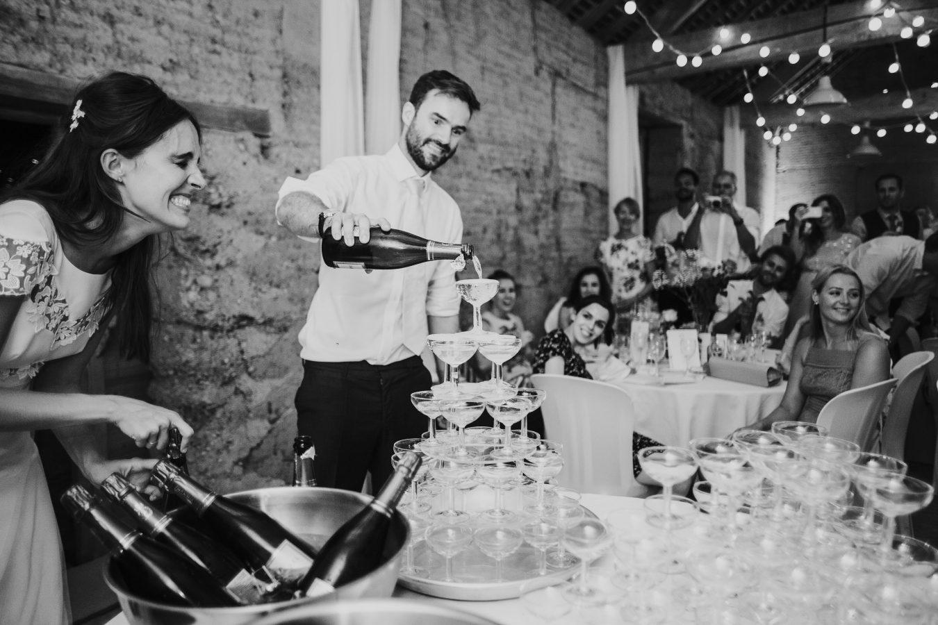 Savoie wedding photographer champagne tower